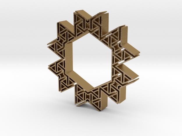 Tribal hangerless pendant 6 in Polished Gold Steel