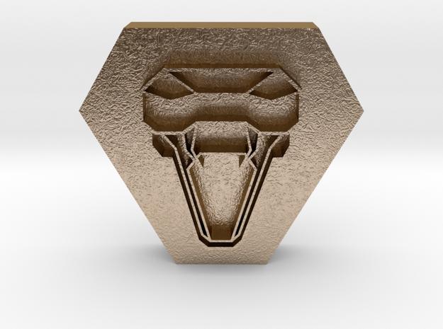 snake head pendant 1 in Polished Gold Steel