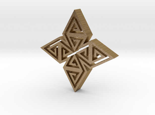 Tribal hangerless pendant 2 in Polished Gold Steel