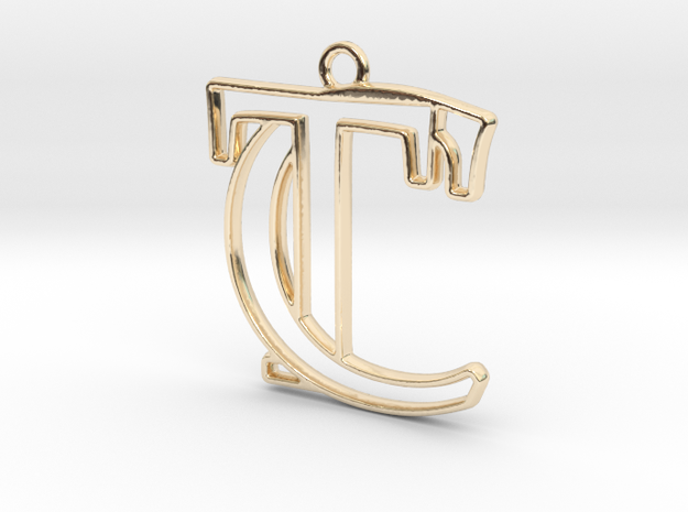 Initials C&T monogram in 14k Gold Plated Brass