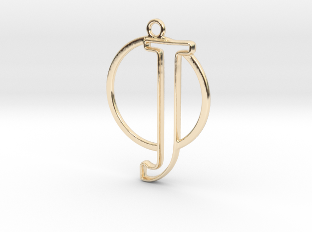 Initial J & circle  in 14k Gold Plated Brass