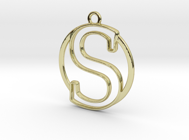 Initial S & circle  in 18k Gold Plated Brass