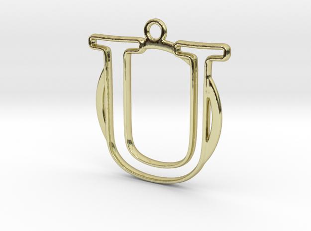 Initial U & circle  in 18k Gold Plated Brass