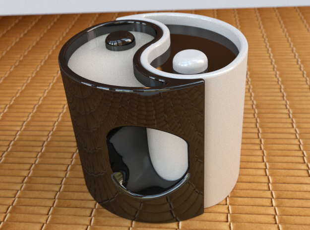 """Yin-Yang Espresso Cup, clockwise variant 3d printed This is what it would look like if you bought two in different colours and filled them with   different-coloured drinks. The spike in the middle sticks out to make a """"dot""""!"""