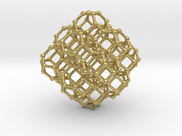 Bitruncated cubic honeycomb - pendant  in Natural Brass