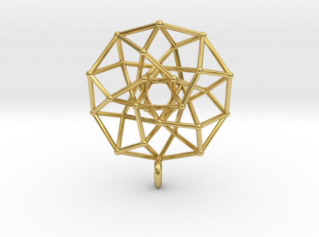 4D Archimedean Hyperform Toroidal Projection w rin in Polished Brass