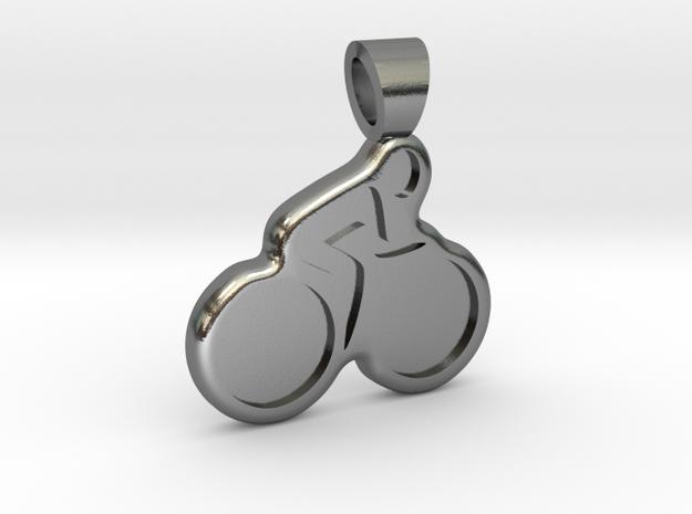 Biking [pendant] in Polished Silver