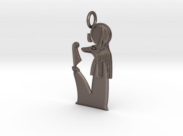 Wepwawet-Re amulet in Polished Bronzed-Silver Steel