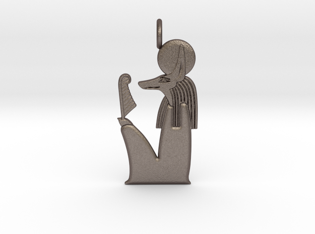 Solar Anubis amulet in Polished Bronzed-Silver Steel
