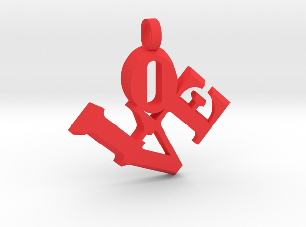 Love Sculpture pendant key fob in Red Processed Versatile Plastic: Large