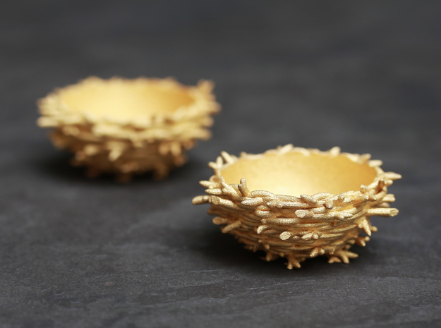 Gold 'Nest' Egg Cup in Polished Gold Steel