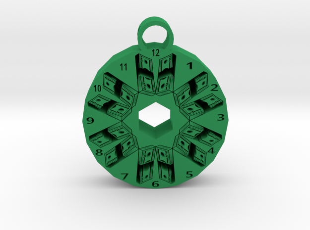 time is money pendant 1 in Green Processed Versatile Plastic