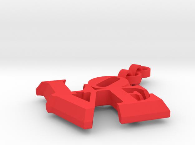 Love sculpture key fob in Red Processed Versatile Plastic