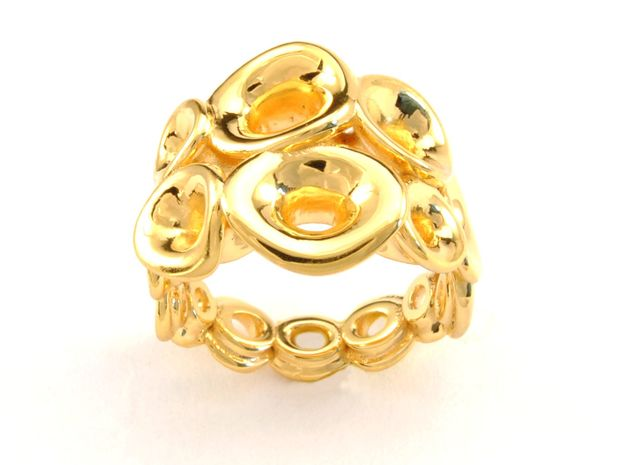 Mo-at size Double Ring  (From $31) in 18k Gold Plated Brass: 6.5 / 52.75
