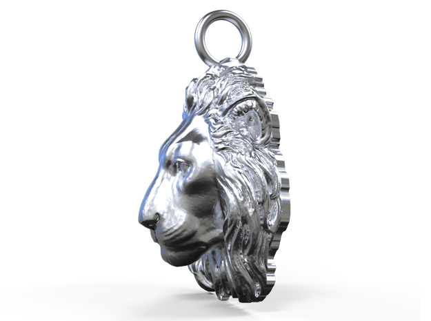 Lion Head Pendant in Natural Silver