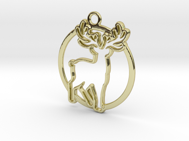 Deer & circle intertwined Pendant in 18k Gold Plated Brass