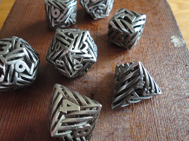 Helix Dice Set with Decader in Polished Bronzed-Silver Steel