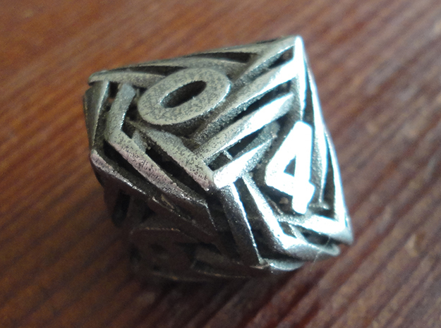 Helix Die10 in Polished Bronzed-Silver Steel