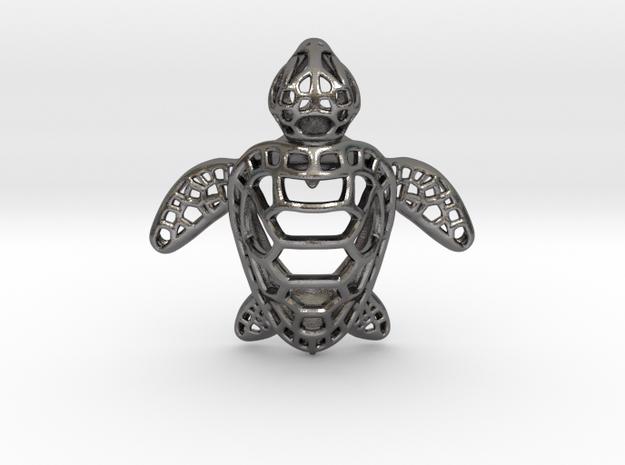 Sea Turtle Pendant in Polished Nickel Steel
