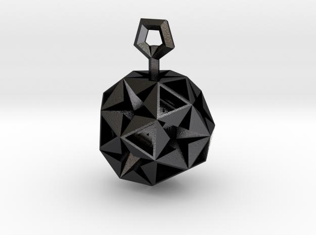 Pentagram Pendant in Polished and Bronzed Black Steel