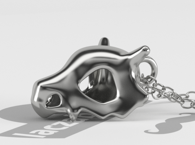Cubone Pendant in Polished Silver: Large