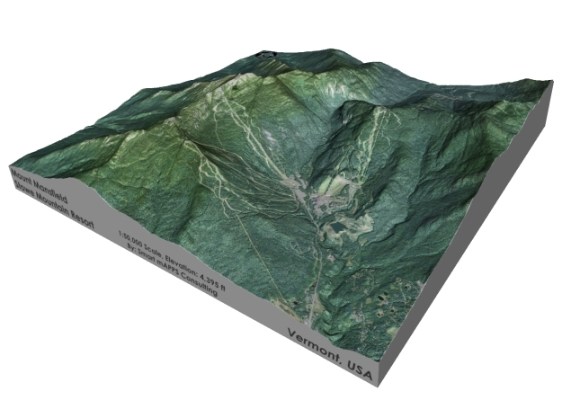 "Mount Mansfield / Stowe Mountain: 6"" in Matte Full Color Sandstone"