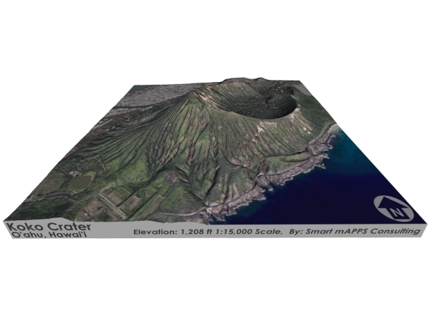 "Koko Crater Map: 6""x6"" in Matte Full Color Sandstone"