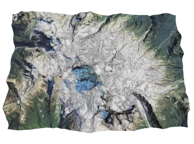 "Mount Baker Map: 6""x9"" in Matte Full Color Sandstone"