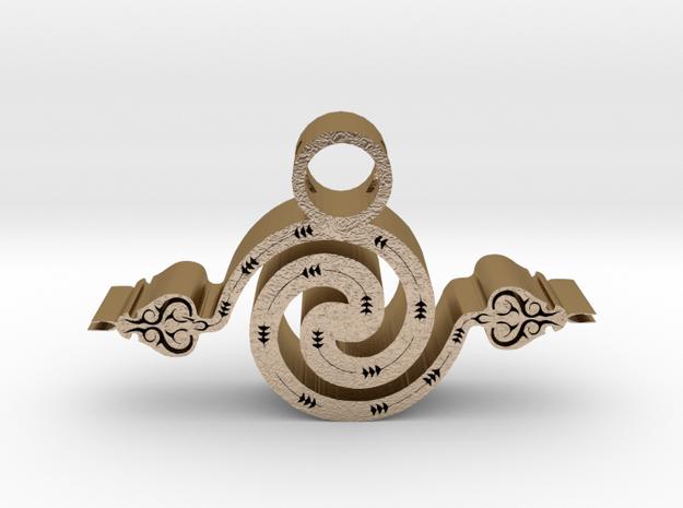 2 headed snake pendant in Polished Gold Steel