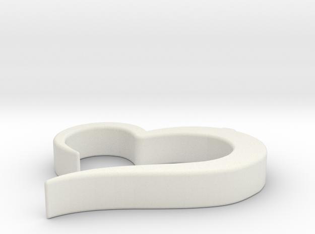 Heart_pendant in White Natural Versatile Plastic