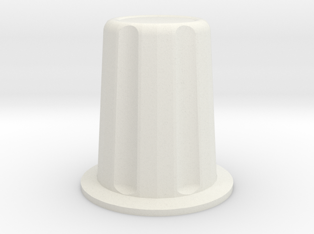 Rotary encoder knob for 6mm shaft in White Natural Versatile Plastic: Medium