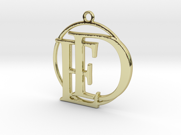Initials D&E and circle monogram in 18k Gold Plated Brass