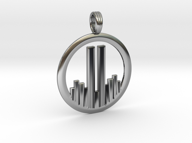 NEVER FORGET WTC 911 PENDANT in Antique Silver