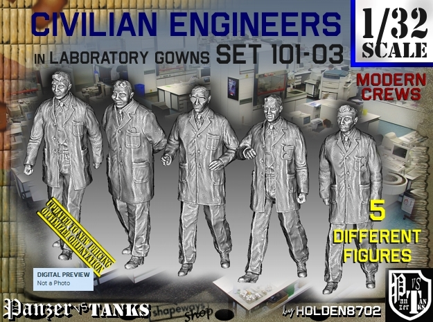 1/32 Engineers Set101-03 in Smooth Fine Detail Plastic