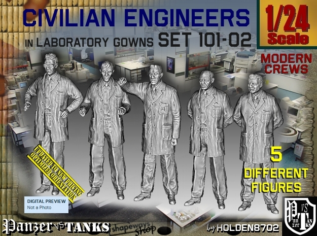 1/24 Engineers Set101-02 in White Natural Versatile Plastic