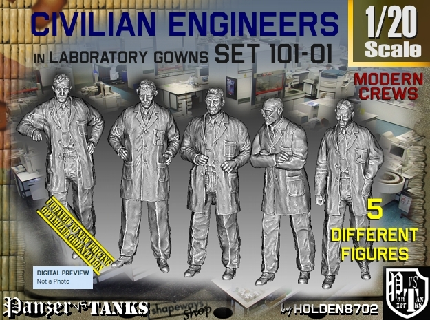 1/20 Engineers Set101-01 in White Natural Versatile Plastic