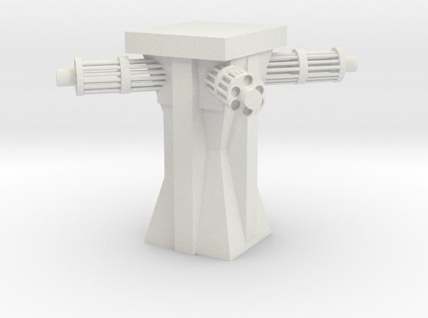 Sci-fi Machine Gun Tower in White Natural Versatile Plastic