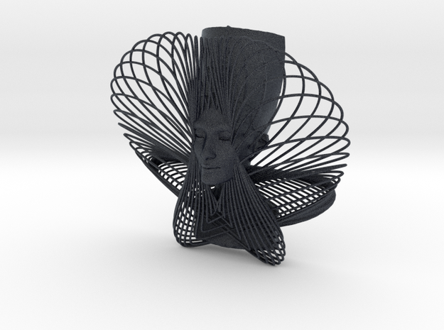 Enneper Curve Art + Nefertiti (001b) in Black PA12