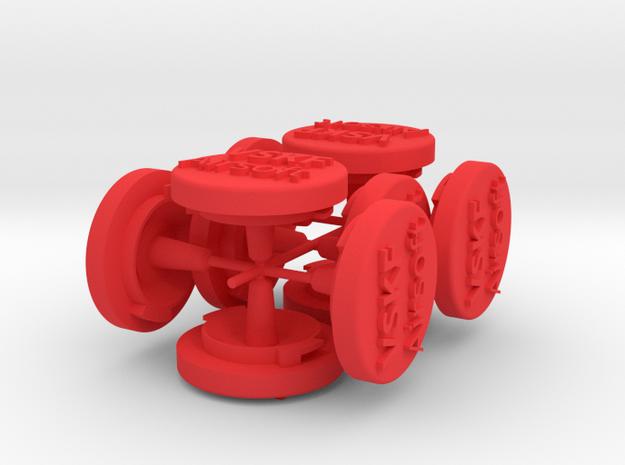 V2.1 end piece multiprint in Red Processed Versatile Plastic
