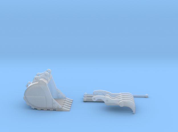 1:50 HD Bucket and Thumb for 20 Ton excavator mode in Smooth Fine Detail Plastic