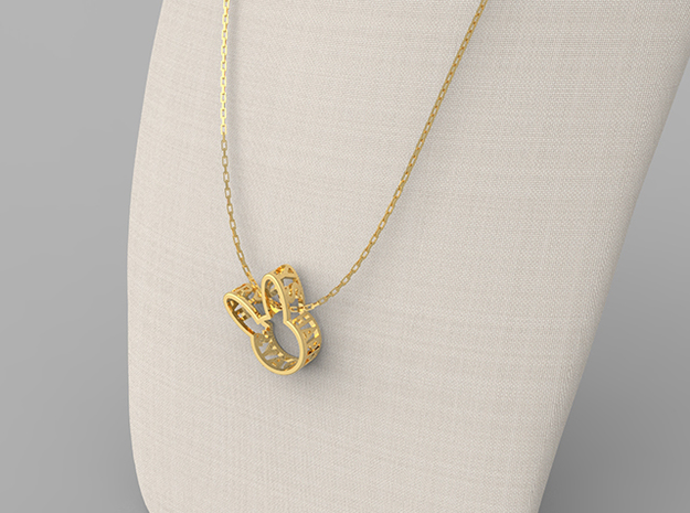 Rabbit Pendant in Polished Brass