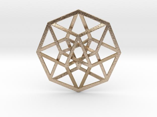 "4D Hypercube (Tesseract) 2.5"" in Polished Gold Steel"