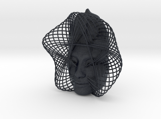 Wire Curve Art + Nefertiti (002c) in Black PA12