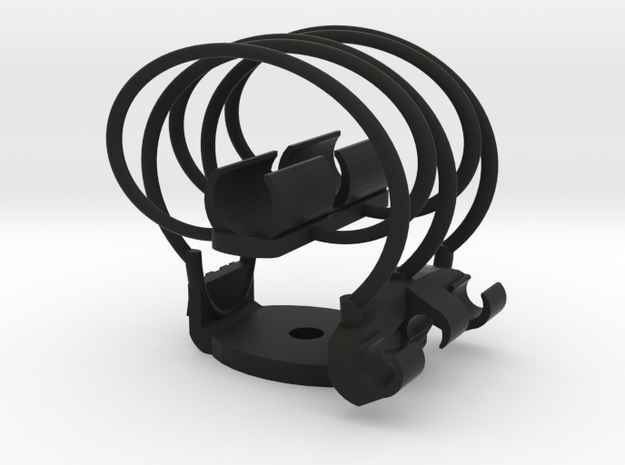 Shockmount Mic Clip 12mm with 6.5mm mounting hole in Black Natural Versatile Plastic