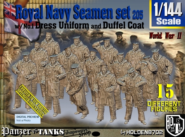1/144 Royal Navy Seamen DC+No1 Set205 in Smooth Fine Detail Plastic
