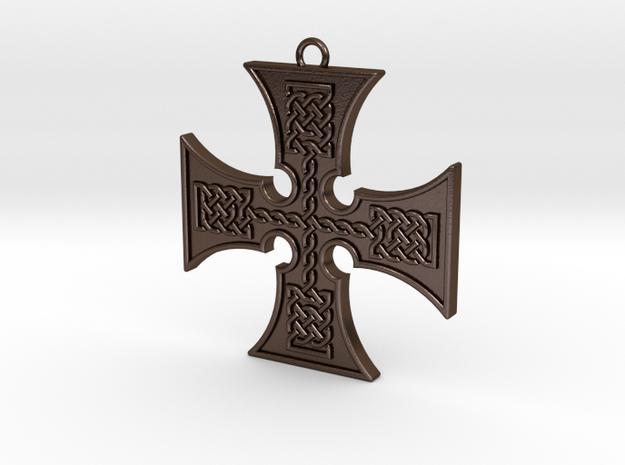 knotwork_cross_keyfob_003 in Polished Bronze Steel
