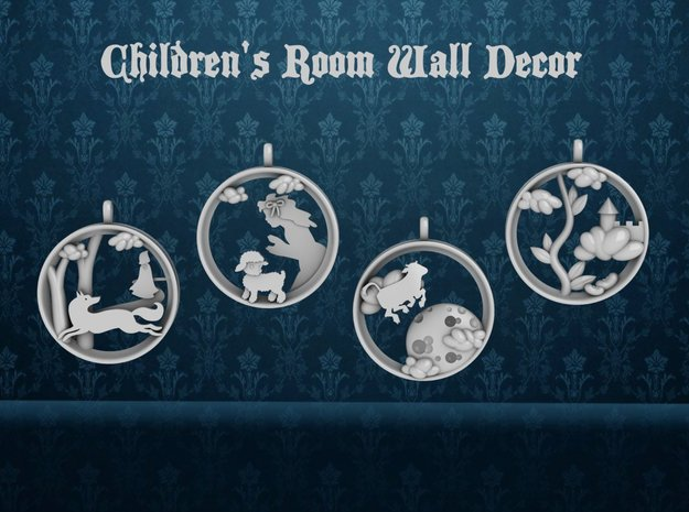 "Children's Wall Charms ""Jack and the Beanstalk"" in White Processed Versatile Plastic"