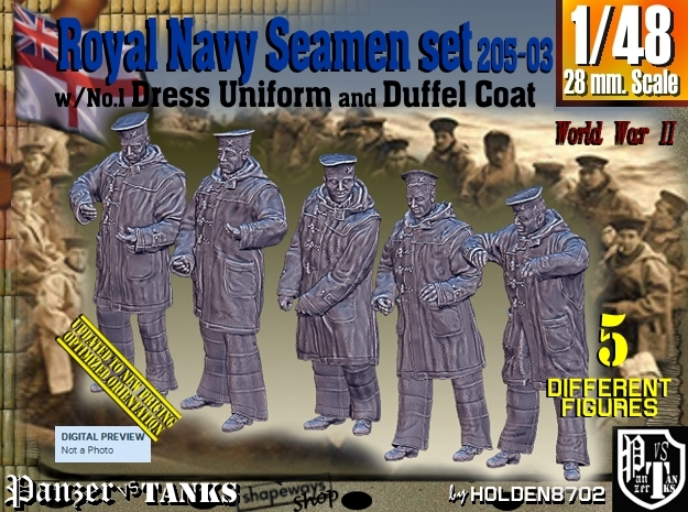 1/48 Royal Navy Seamen DC+No1 Set205-03 in Smooth Fine Detail Plastic