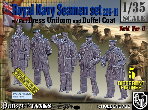 1/35 Royal Navy Seamen DC+No1 Set205-01 in Smooth Fine Detail Plastic