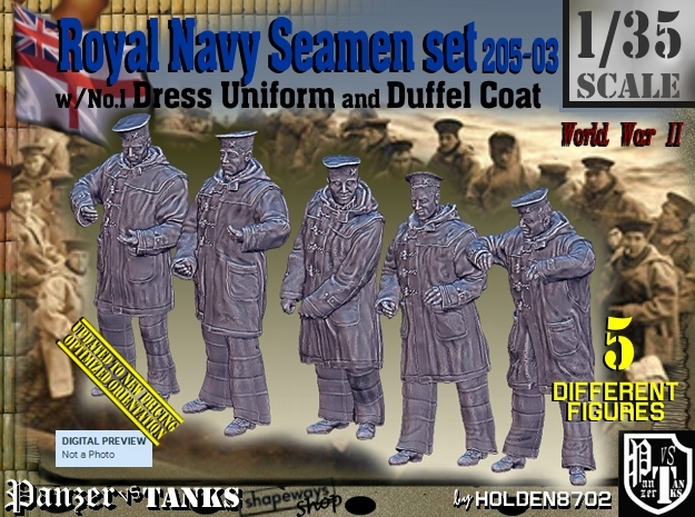 1/35 Royal Navy Seamen DC+No1 Set205-03 in Smooth Fine Detail Plastic